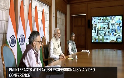 Prime Minister Narendra Modi interacts with AYUSH professionals
